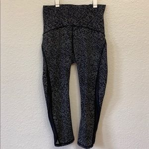 Lululemon crop leggings with mesh cut out